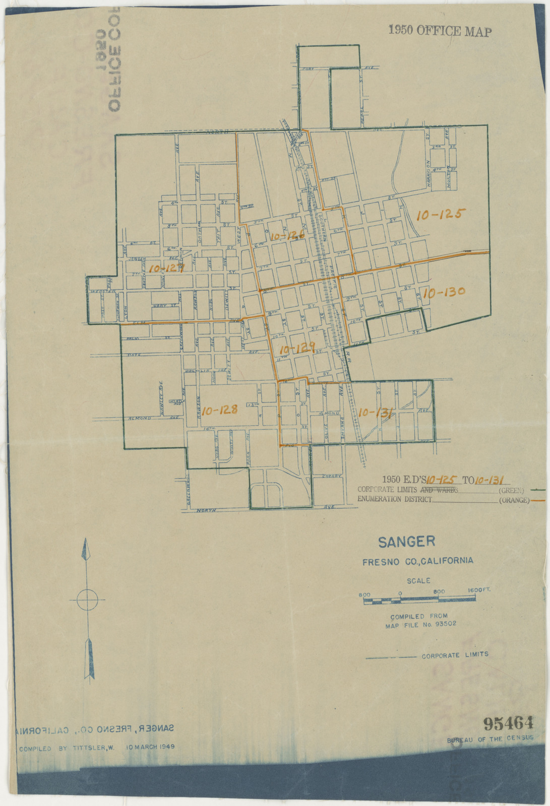 Map Of California Fresno.1950 Census Enumeration District Maps California Ca Fresno