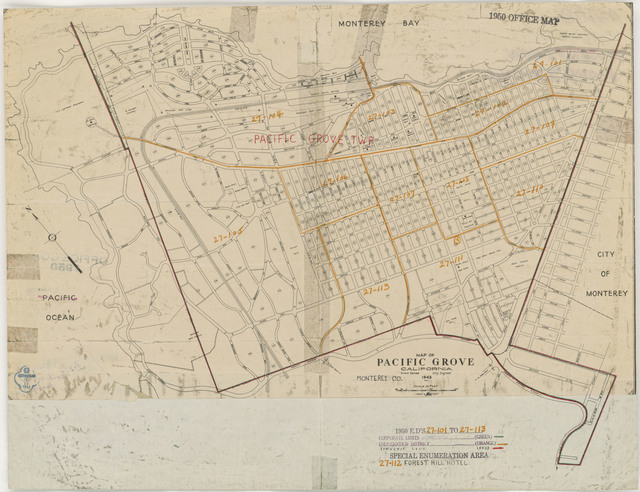 1950 Census Enumeration District Maps - California (CA) - Monterey County - Pacific Grove - ED 27-101 to 113