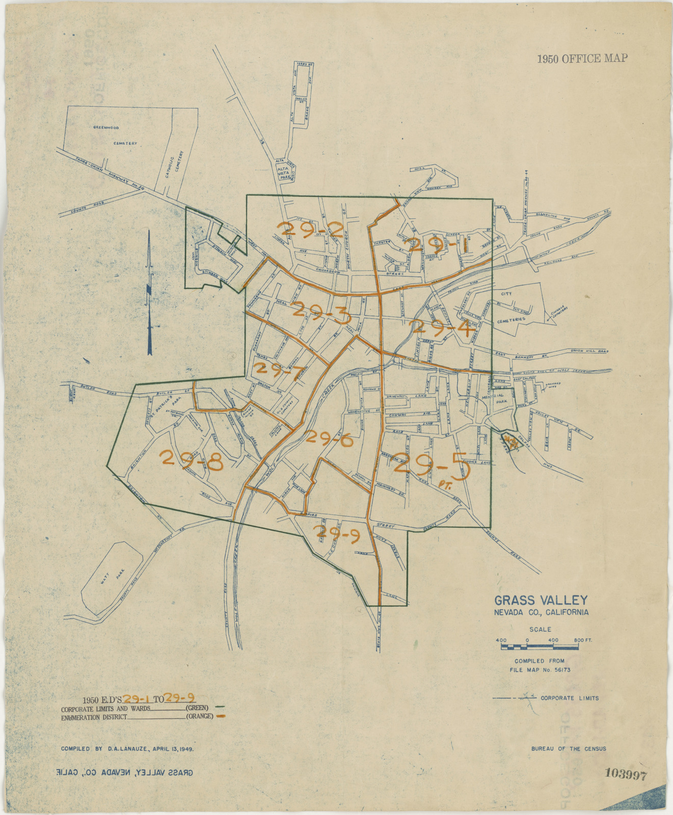 1950 Census Enumeration District Maps California Ca Nevada