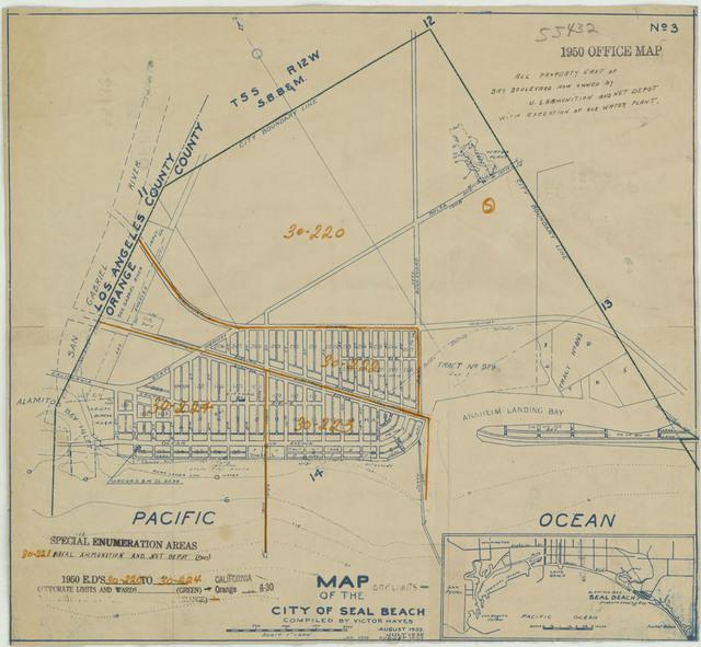 1950 Census Enumeration District Maps - California (CA) - Orange County - Seal Beach - ED 30-220 to 224