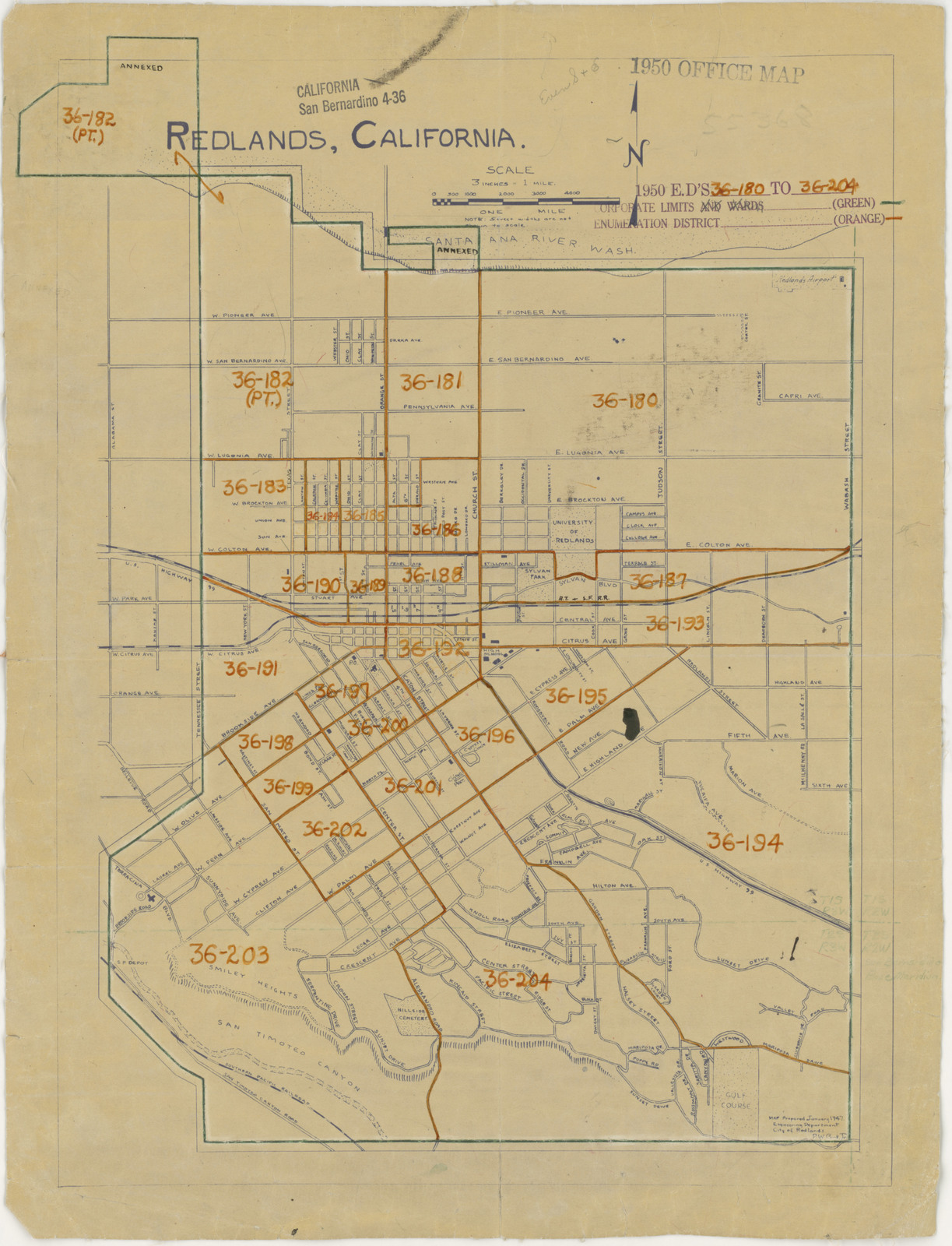 1950 Census Enumeration District Maps California Ca San