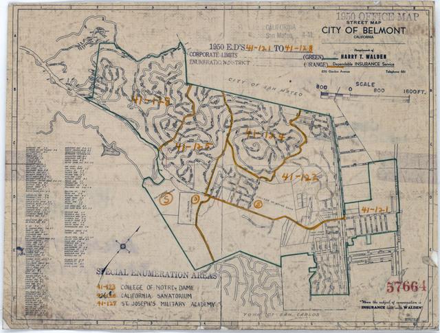 1950 Census Enumeration District Maps - California (CA) - San Mateo County - Belmont - ED 41-121 to 128