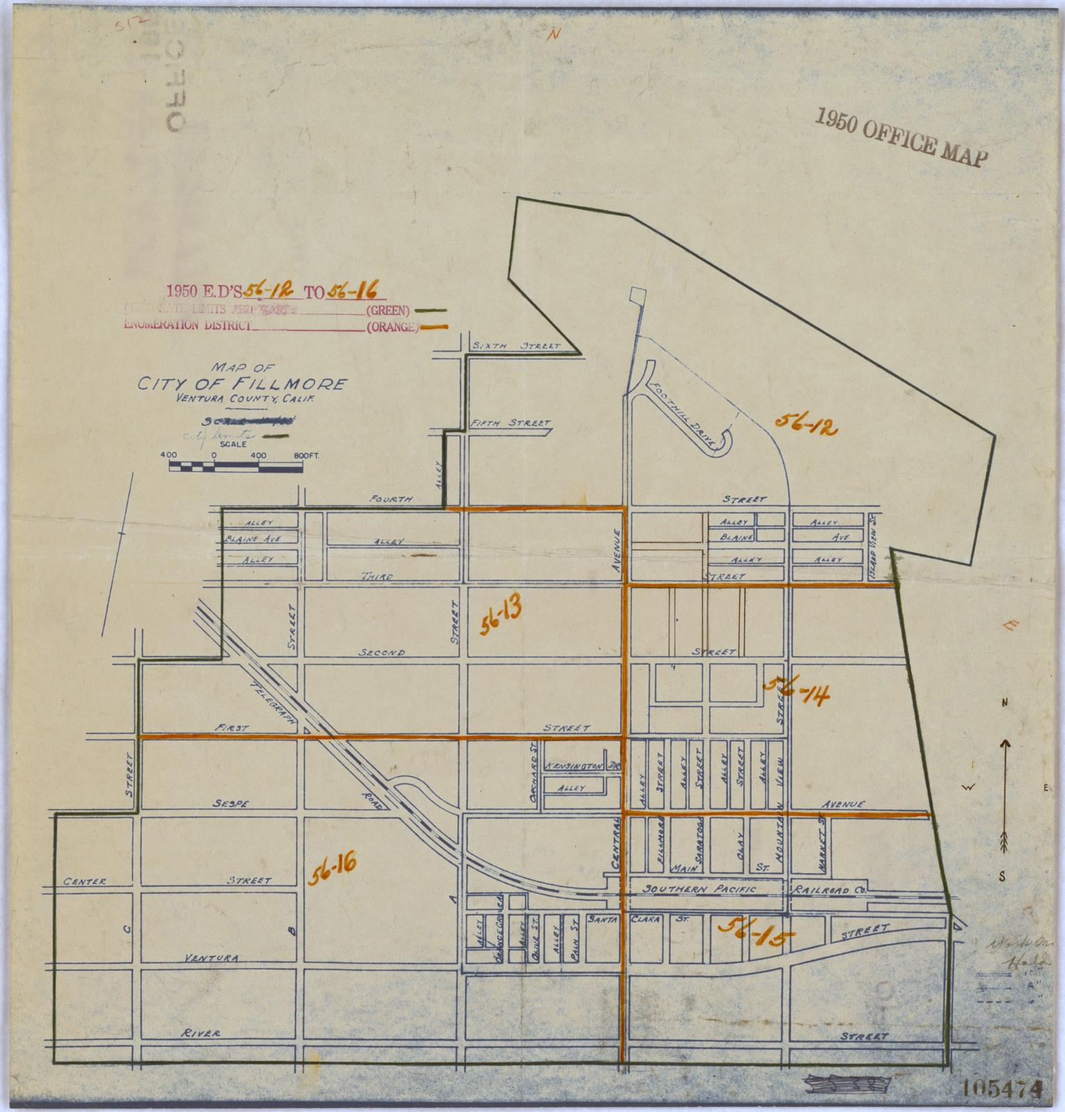 1950 Census Enumeration District Maps California Ca Ventura