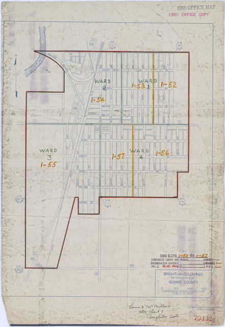 1950 Census Enumeration District Maps - Colorado (CO) - Adams County - Brighton - ED 1-52 to 57