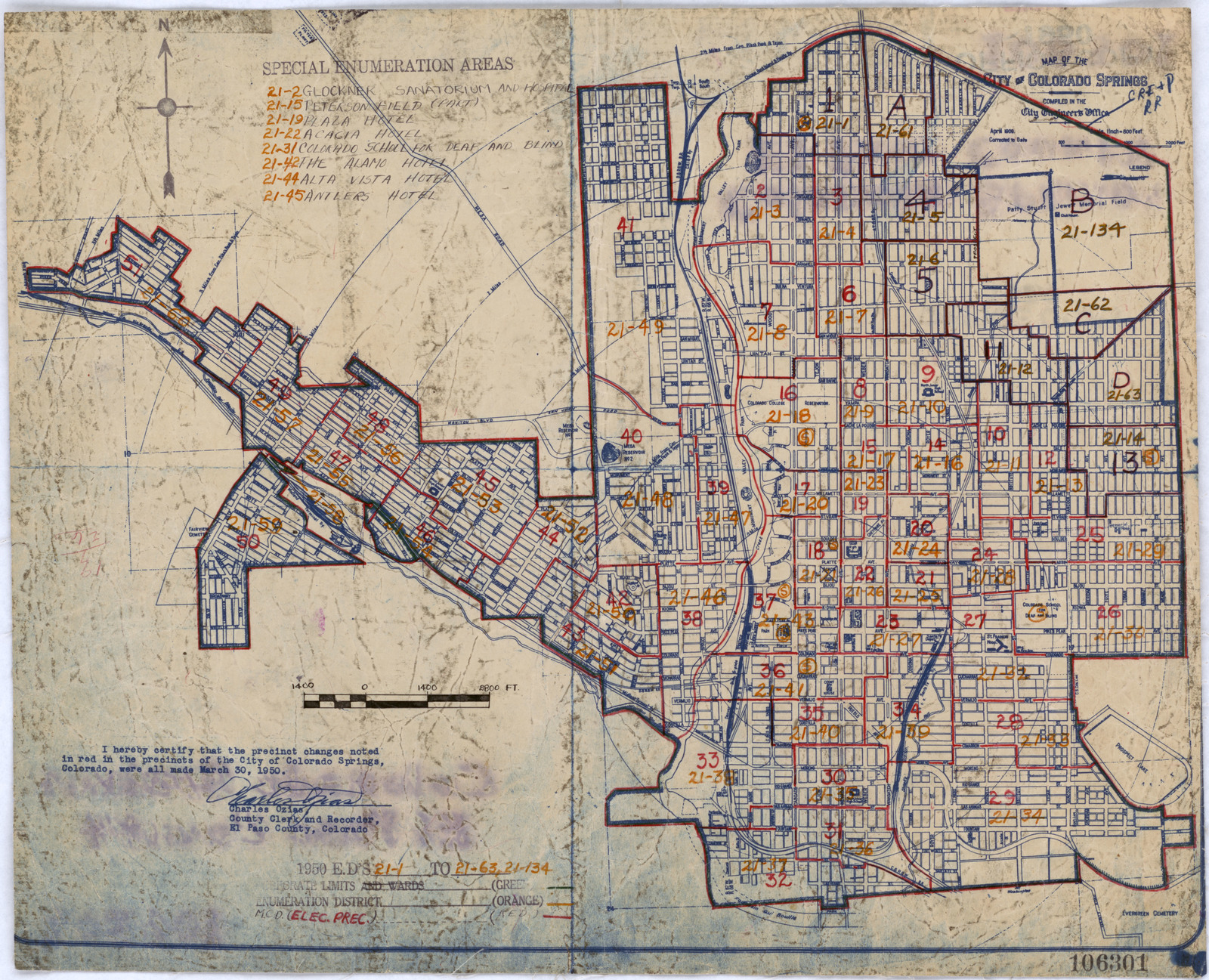 1950 Census Enumeration District Maps - Colorado (CO) - El Paso ...