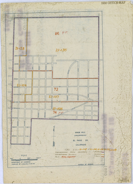 1950 Census Enumeration District Maps - Colorado (CO) - El Paso County - Knob Hill - ED 21-104 to 105, 21-135, 21-137 to 138