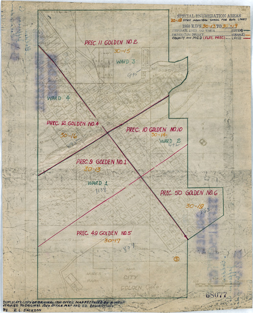1950 Census Enumeration District Maps - Colorado (CO) - Jefferson County - Golden - ED 30-13 to 19