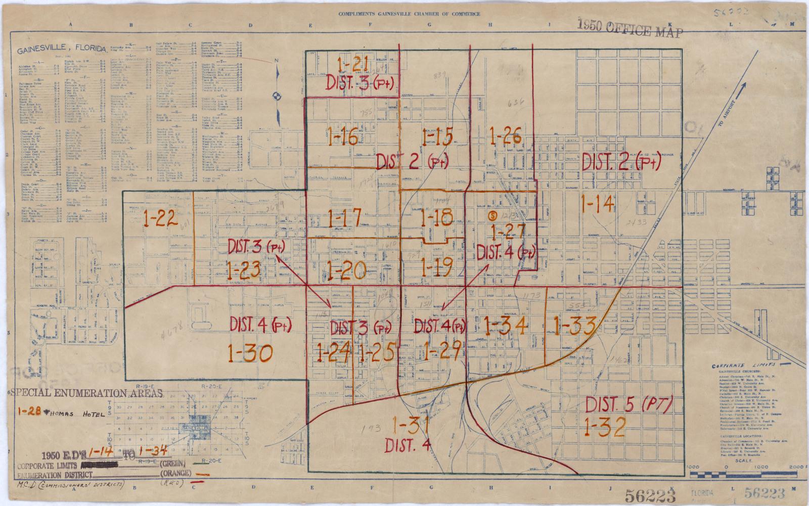 1950 Census Enumeration District Maps Florida Fl Alachua