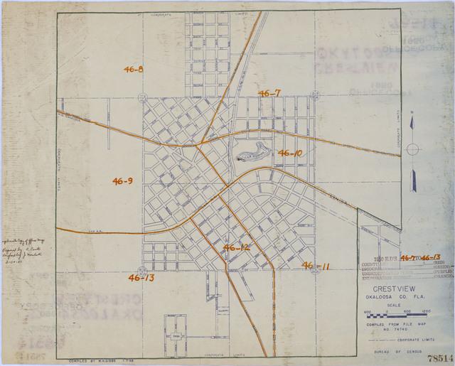 1950 Census Enumeration District Maps - Florida (FL) - Okaloosa County - Crestview - ED 46-7 to 13