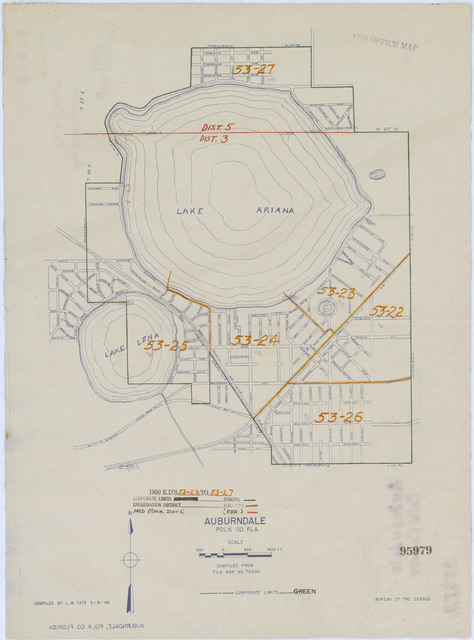 1950 Census Enumeration District Maps - Florida (FL) - Polk County - Auburndale - ED 53-22 to 27