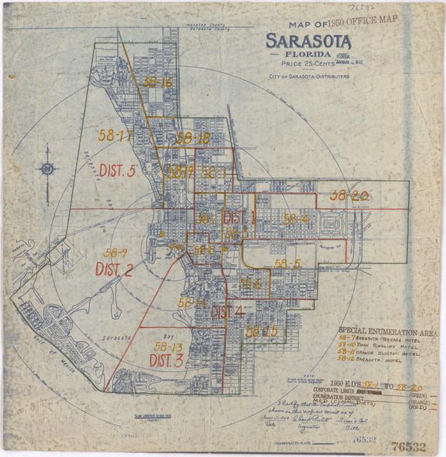 1950 Census Enumeration District Maps - Florida (FL) - Sarasota County - Sarasota - ED 58-1 to 20