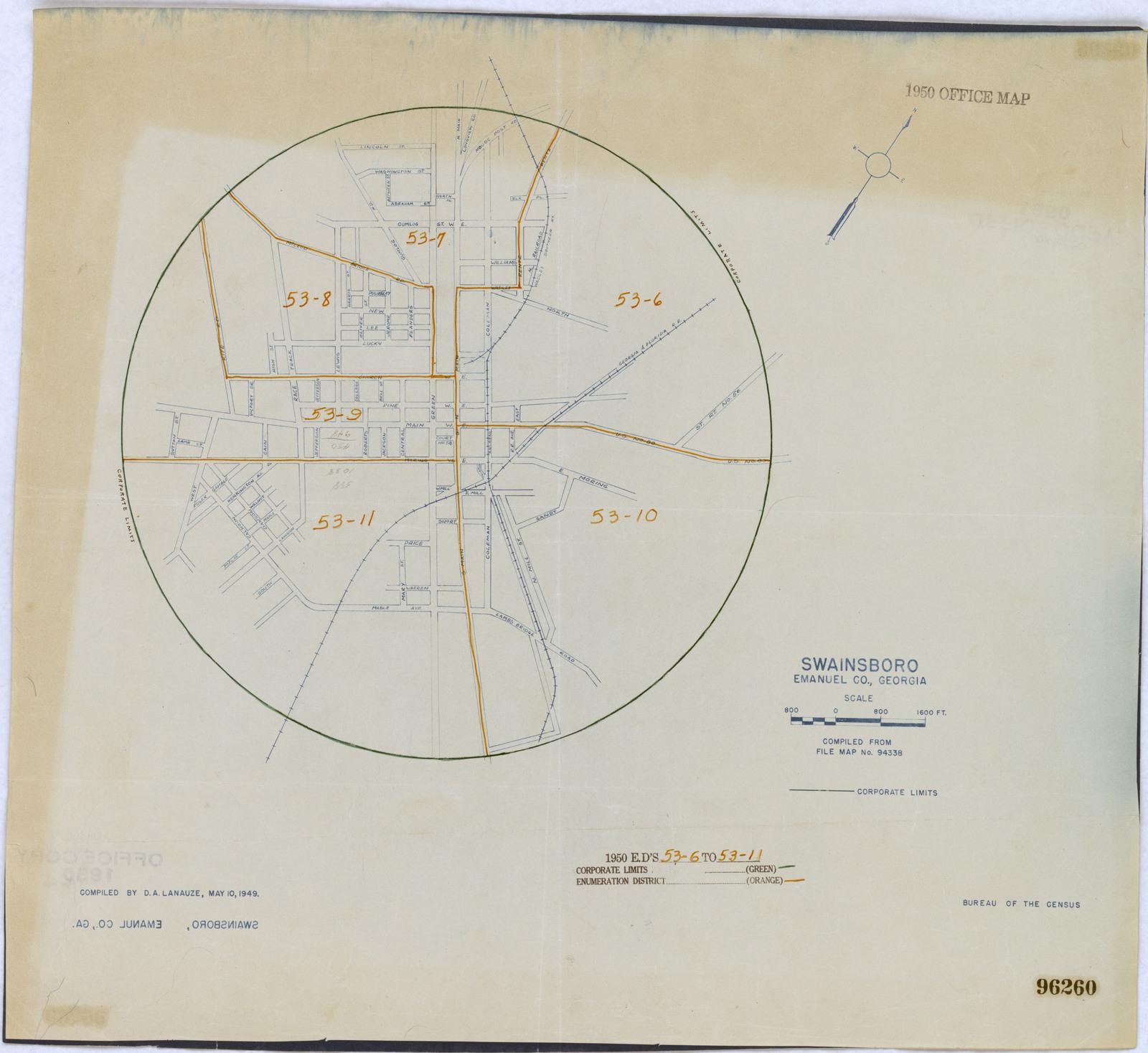 Map Of Georgia District 6.1950 Census Enumeration District Maps Georgia Ga Emanuel