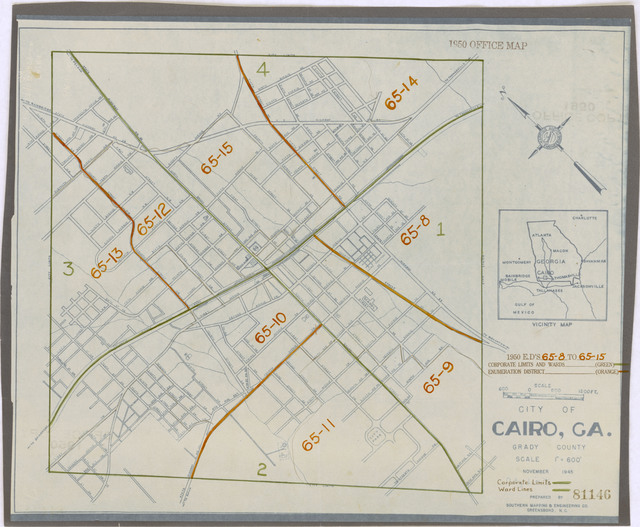 Map Of Cairo Georgia.1950 Census Enumeration District Maps Georgia Ga Grady County