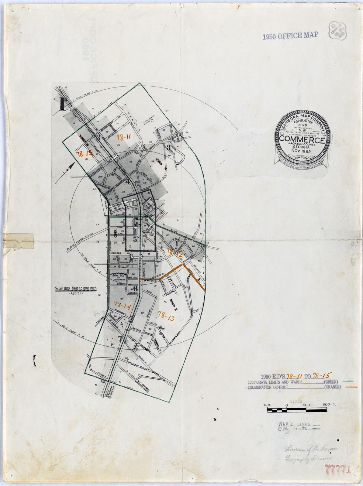 Commerce Georgia Map.1950 Census Enumeration District Maps Georgia Ga Jackson