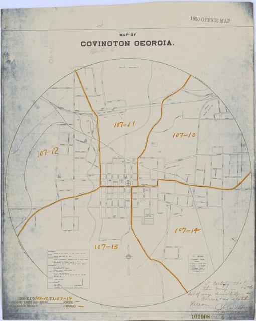 1950 Census Enumeration District Maps - Georgia (GA) - Newton County - Covington - ED 107-10 to 14