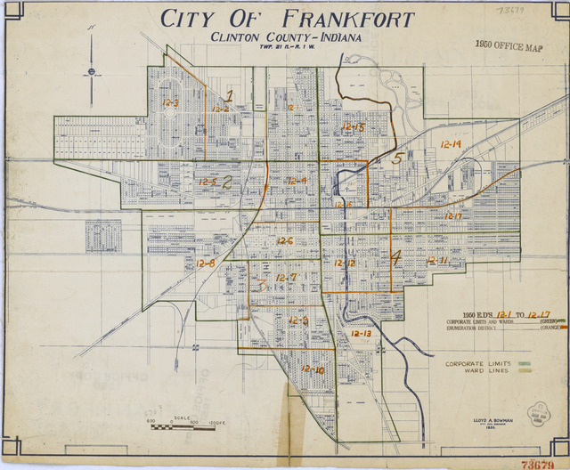 1950 Census Enumeration District Maps - Indiana (IN) - Clinton County - Frankfort - ED 12-1 to 17