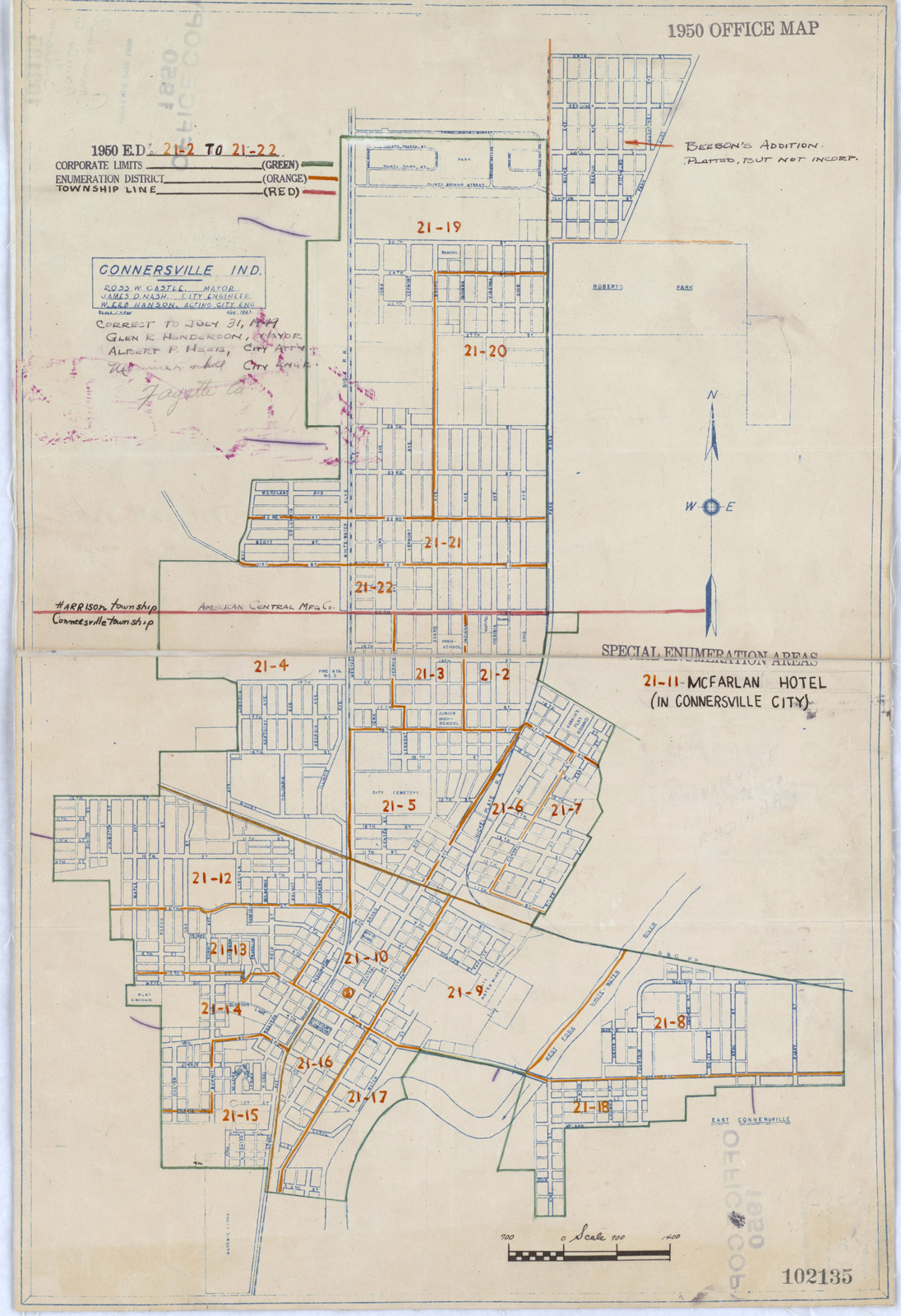 1950 Census Enumeration District Maps Indiana In Fayette