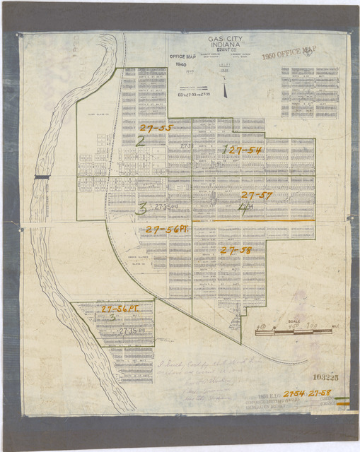 1950 Census Enumeration District Maps - Indiana (IN) - Grant County - Gas City - ED 27-54 to 58