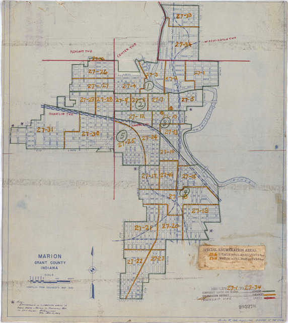 1950 Census Enumeration District Maps - Indiana (IN) - Grant County - Marion - ED 27-1 to 34