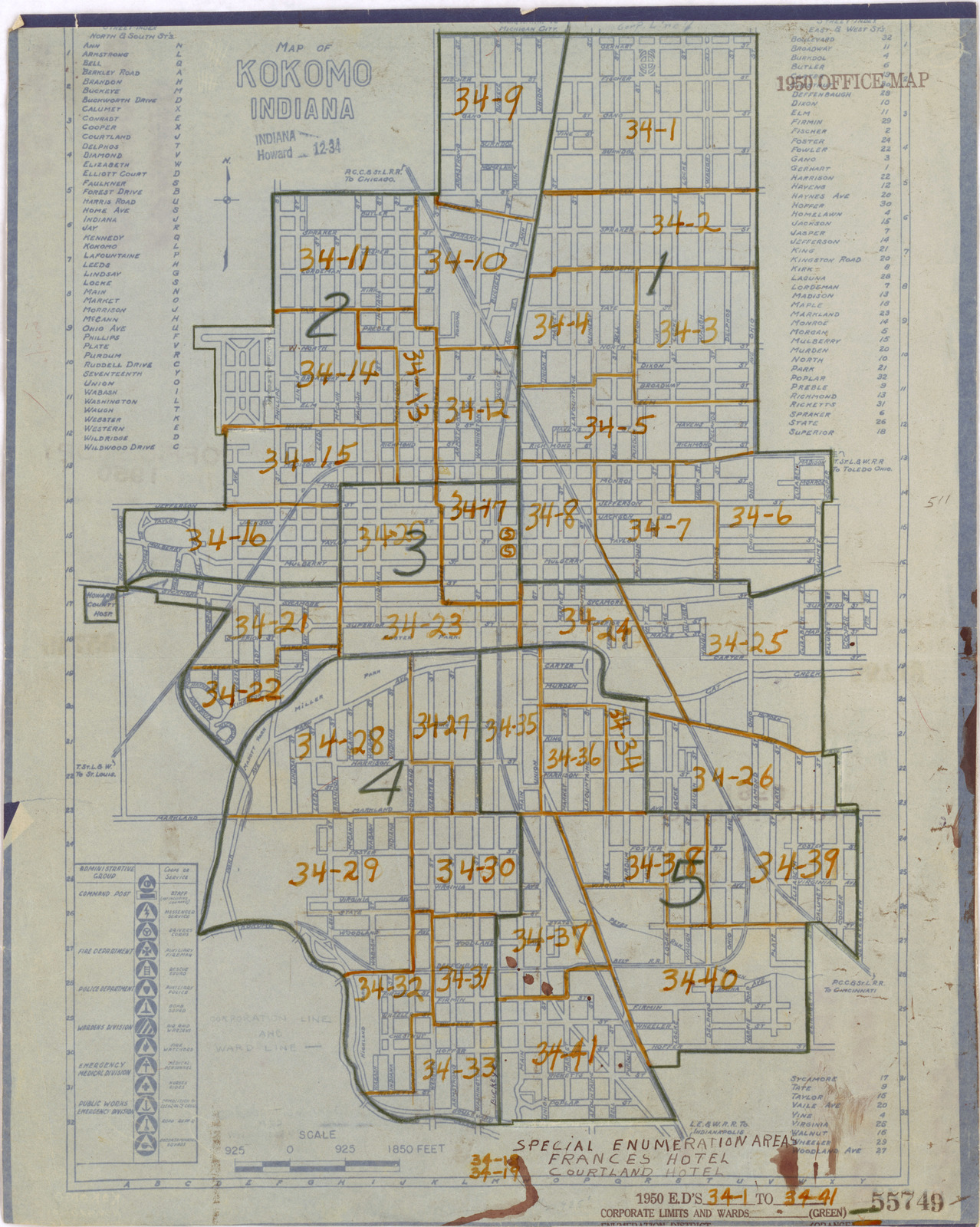 Howard County Indiana Map.1950 Census Enumeration District Maps Indiana In Howard County