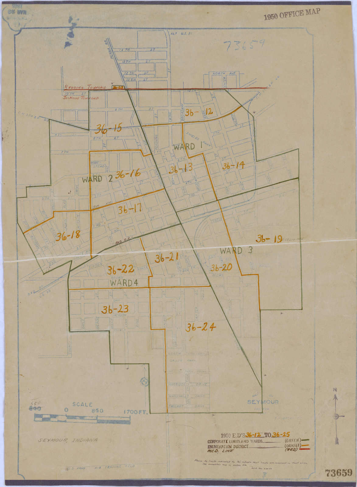 1950 Census Enumeration District Maps Indiana In Jackson