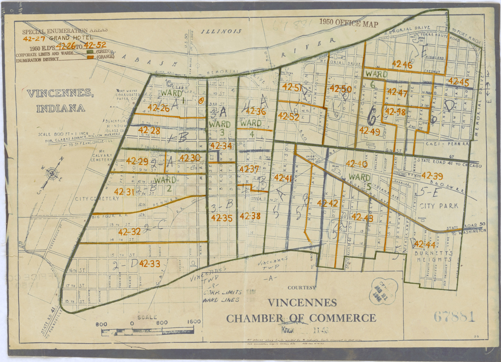 Knox County Indiana Map.1950 Census Enumeration District Maps Indiana In Knox County