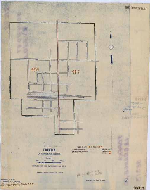 1950 Census Enumeration District Maps - Indiana (IN) - La Grange County - Topeka - ED 44-7 to 8