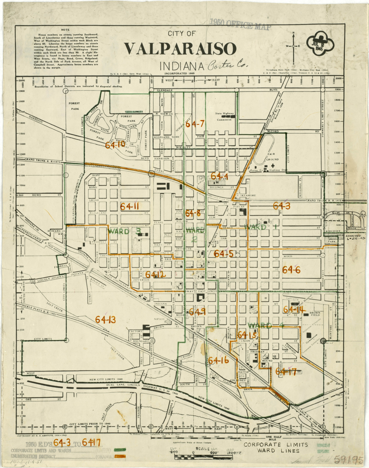 Porter Indiana Map.1950 Census Enumeration District Maps Indiana In Porter County