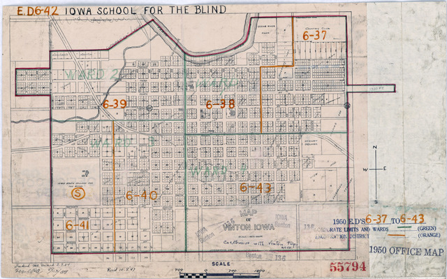 1950 Census Enumeration District Maps - Iowa (IA) - Benton County - Vinton - ED 6-37 to 43