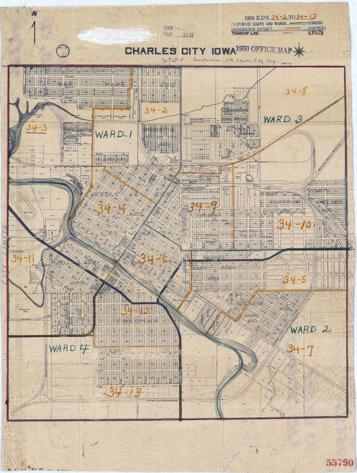 1950 Census Enumeration District Maps Iowa Ia Floyd County