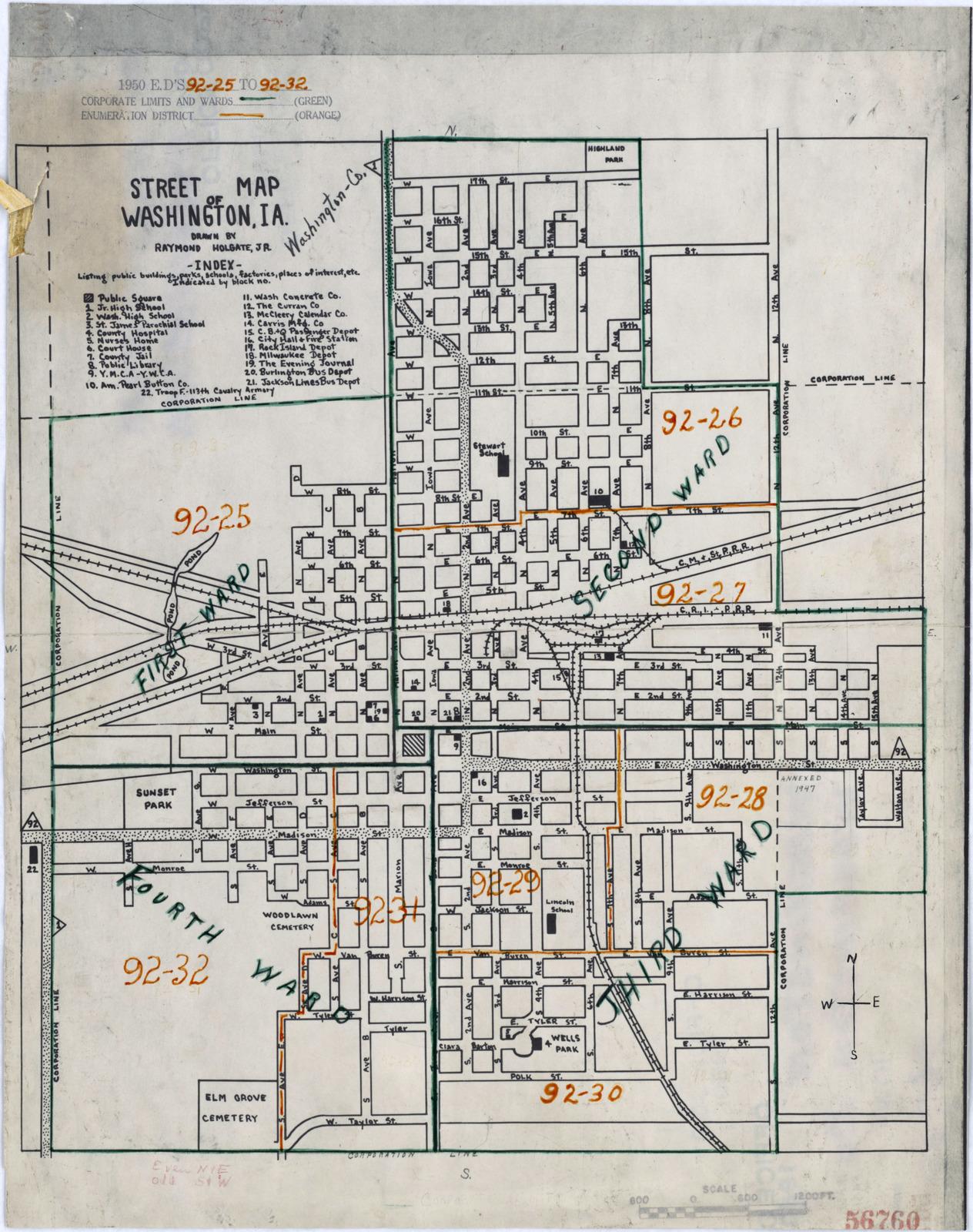 Washington County Iowa Map.1950 Census Enumeration District Maps Iowa Ia Washington
