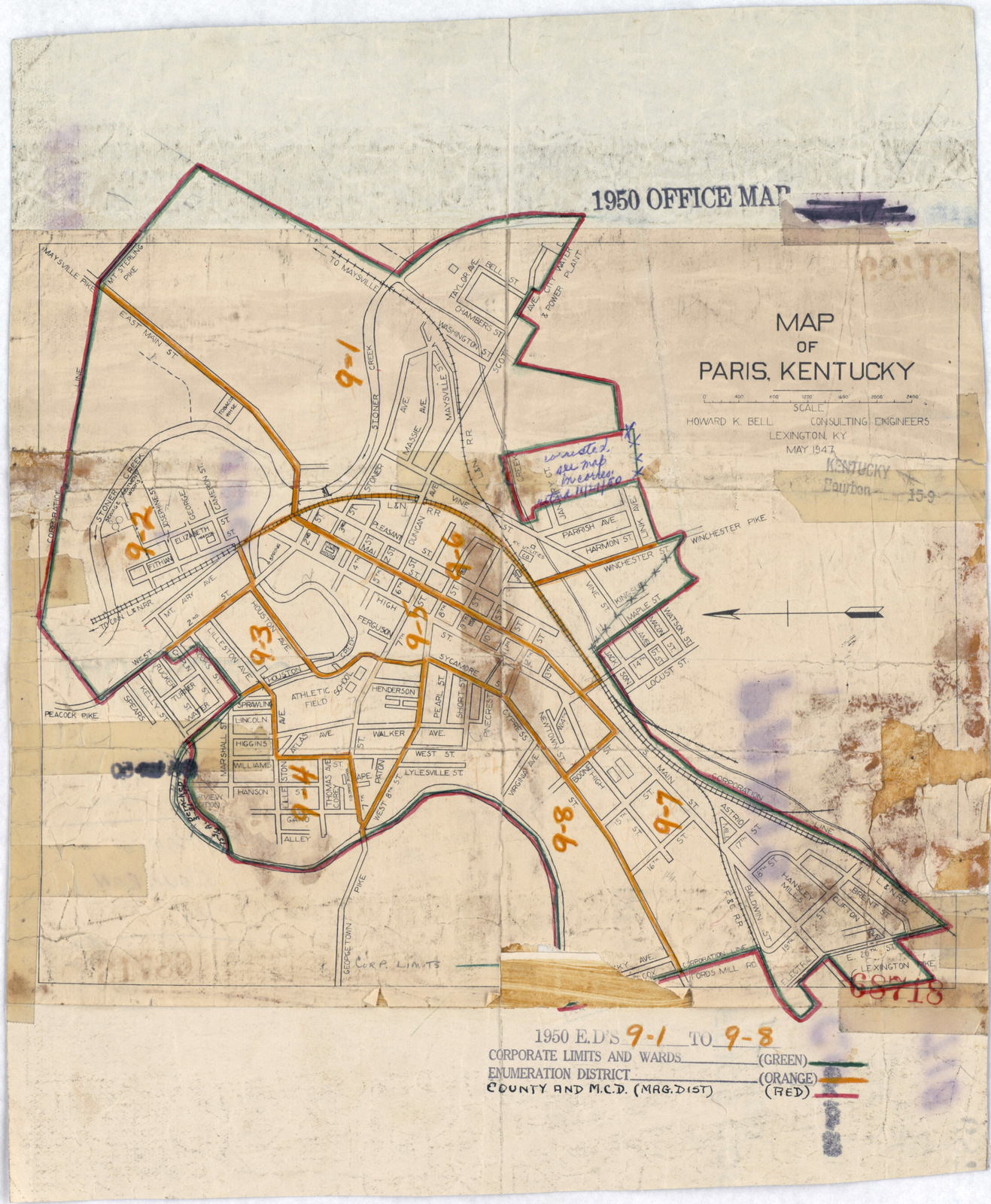 Paris Map District.1950 Census Enumeration District Maps Kentucky Ky Bourbon