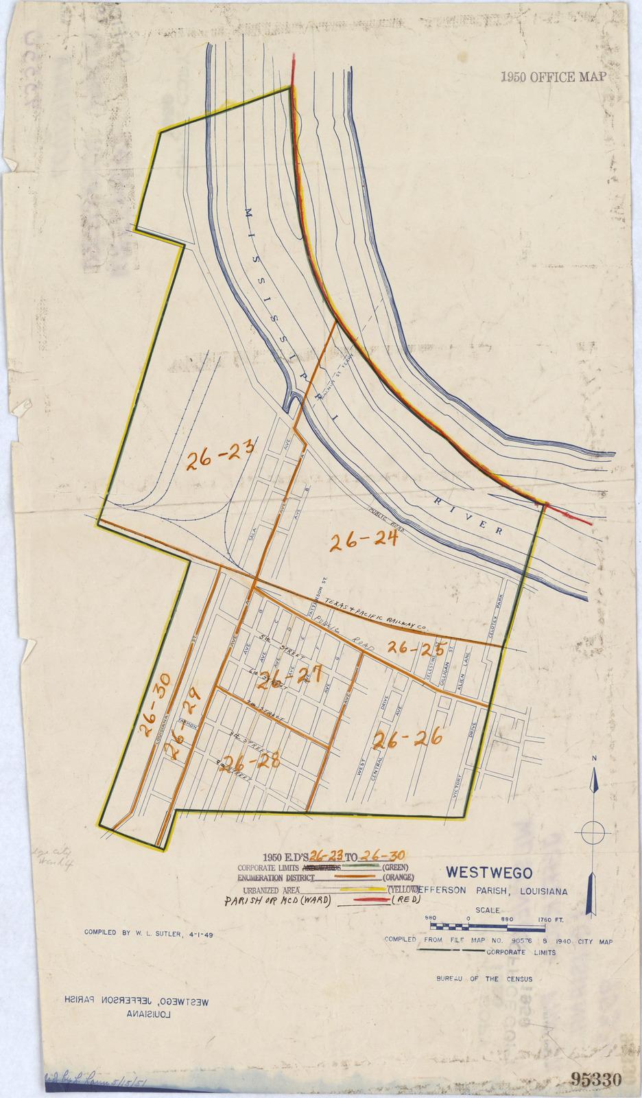 1950 Census Enumeration District Maps Louisiana La Jefferson