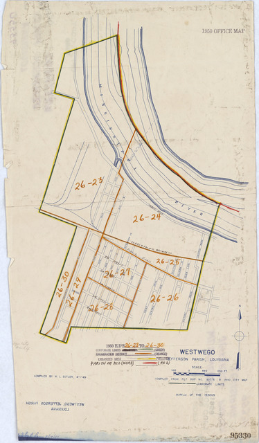 1950 Census Enumeration District Maps - Louisiana (LA) - Jefferson Parish - Westwego - ED 26-23 to 30