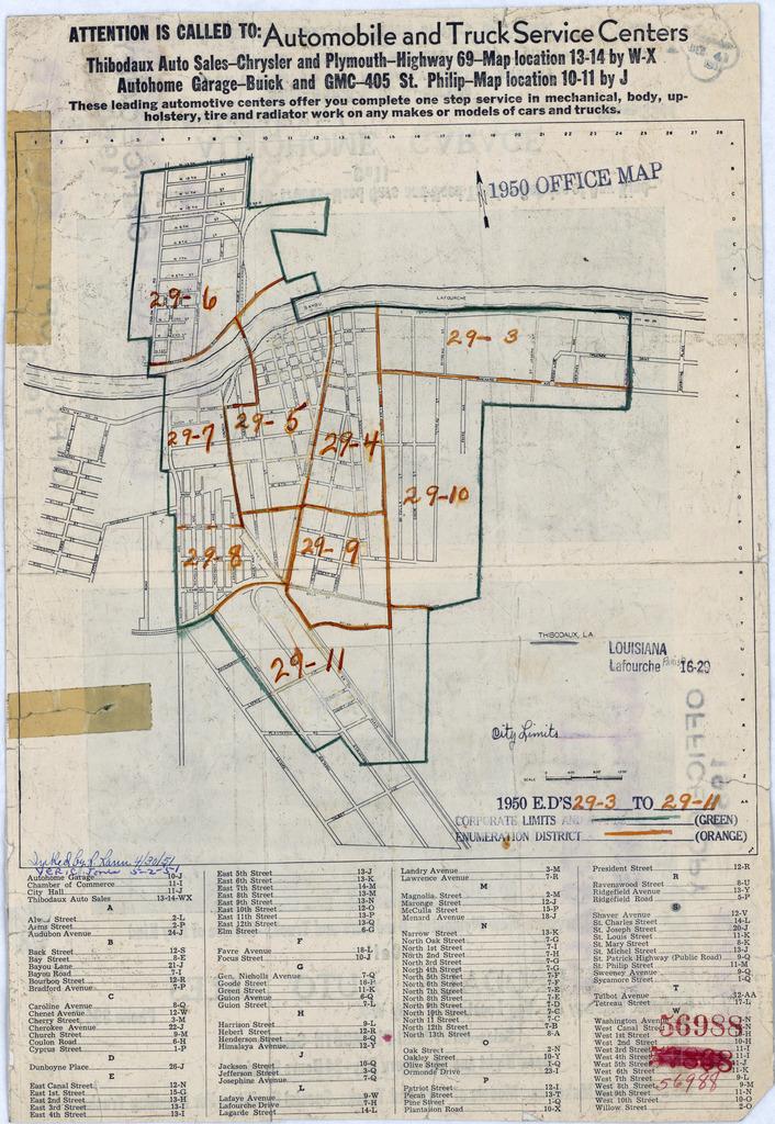 1950 Census Enumeration District Maps - Louisiana (LA) - Lafourche Parish - Thibodaux - ED 29-3 to 11