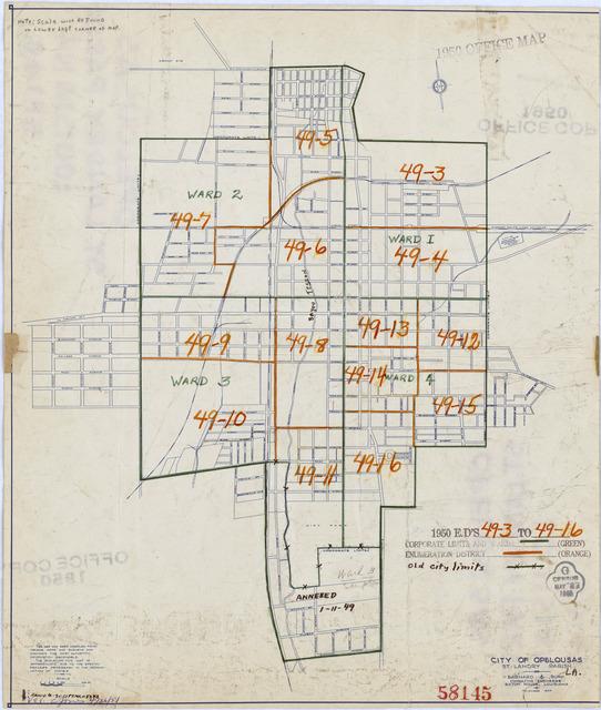 1950 Census Enumeration District Maps - Louisiana (LA) - St. Landry Parish - Opelousas - ED 49-3 to 16