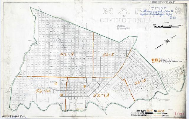 1950 Census Enumeration District Maps - Louisiana (LA) - St. Tammany Parish - Covington - ED 52-8 to 15