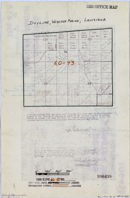 1950 Census Enumeration District Maps - Louisiana (LA) - Webster Parish - Doyline - ED 60-43