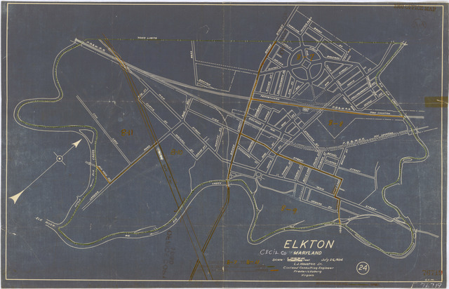 1950 Census Enumeration District Maps - Maryland (MD) - Cecil County - Elkton - ED 8-7 to 11