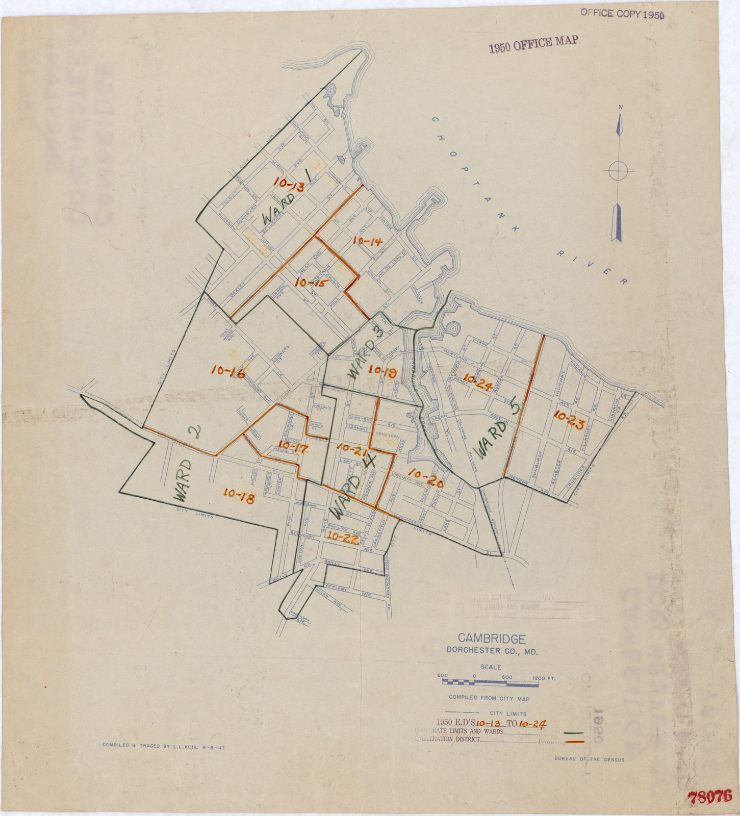 1950 Census Enumeration District Maps - Maryland (MD) - Dorchester County - Cambridge - ED 10-13 to 24
