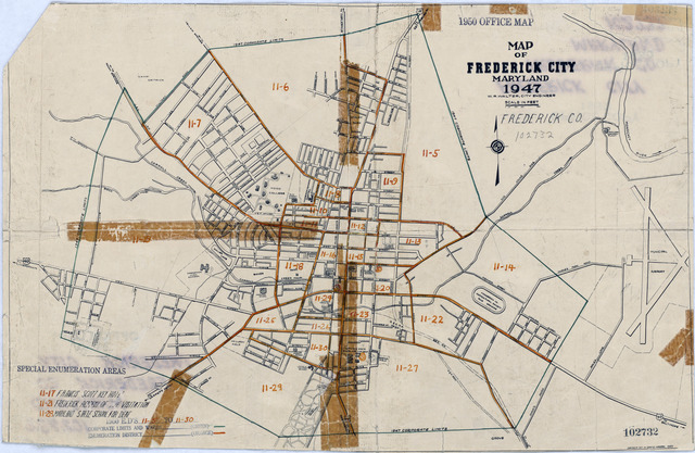 1950 Census Enumeration District Maps - Maryland (MD) - Frederick County - Frederick - ED 11-5 to 30