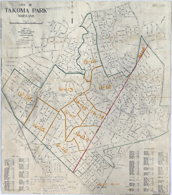 1950 Census Enumeration District Maps - Maryland (MD) - Montgomery County - Takoma Park - ED 16-110 to 120