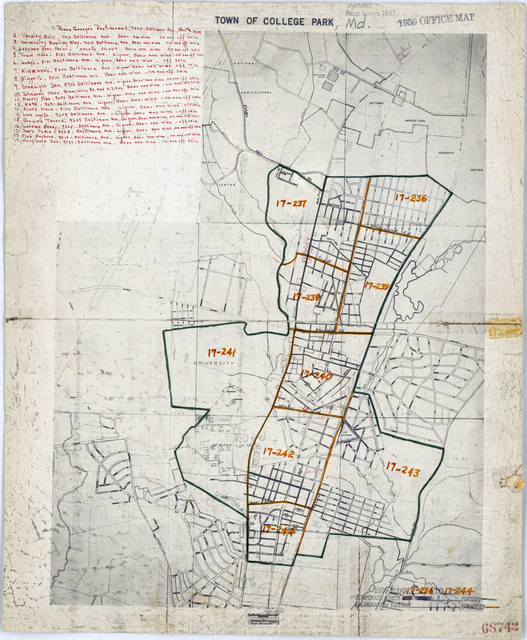 1950 Census Enumeration District Maps - Maryland (MD) - Prince Georges County - College Park - ED 17-236 to 244