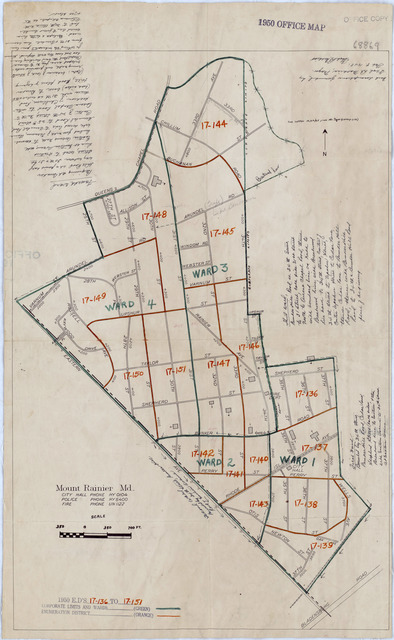 1950 Census Enumeration District Maps - Maryland (MD) - Prince Georges County - Mount Rainier - ED 17-136 to 151