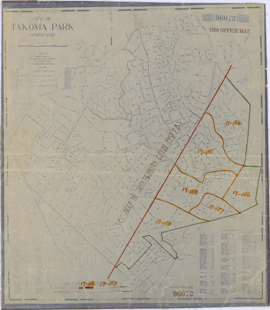 1950 Census Enumeration District Maps - Maryland (MD) - Prince Georges County - Takoma Park - ED 17-154 to 159