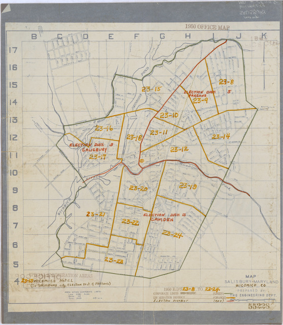 1950 Census Enumeration District Maps - Maryland (MD) - Wicomico County - Salisbury - ED 23-8 to 24