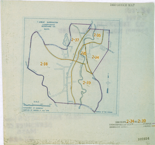 1950 Census Enumeration District Maps - Massachusetts (MA) - Berkshire County - Great Barrington Unincorporated - ED 2-34 to 39