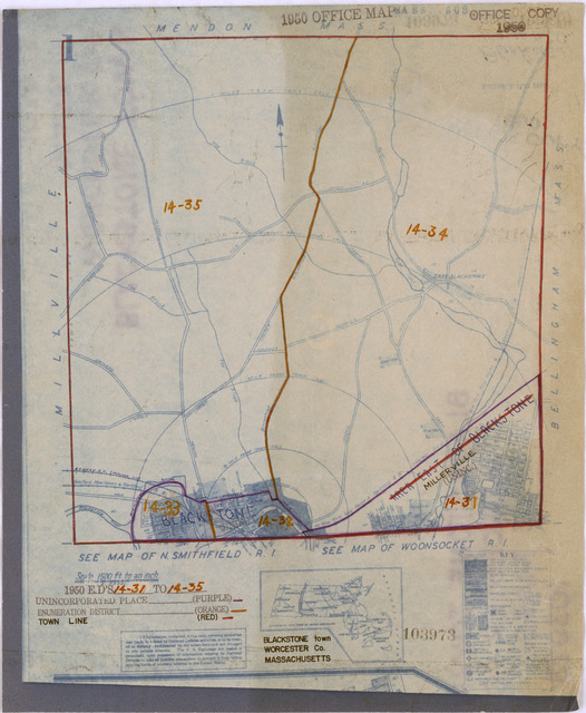 1950 Census Enumeration District Maps - Massachusetts (MA) - Worcester County - Blackstone - ED 14-31 to 35