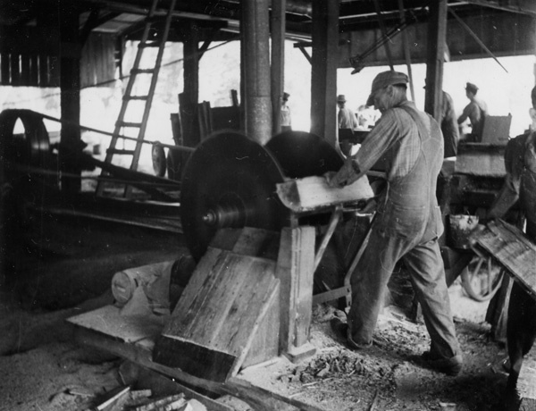 Photograph of the First Milling Operation in the Manufacture of Barrel and Keg Staves