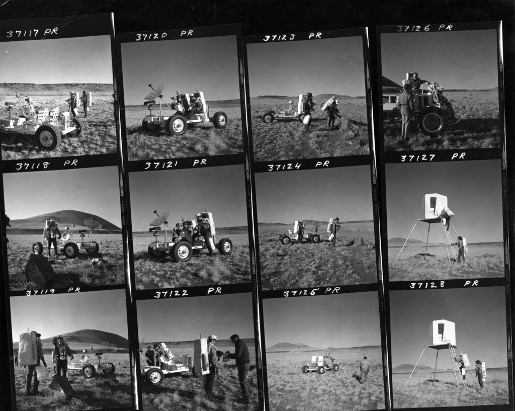 Apollo 15 Astronauts Conducting a Training Exercise with the Lunar Roving Vehicle Simulator